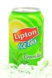 Can of Lipton Ice Tea drink on ice. Lipton Ice Tea is a brand sold by Lipton Stock Image