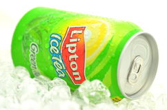 Can of Lipton Ice Tea drink on ice. Stock Image