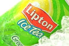 Can of Lipton Ice Tea drink on ice. Stock Photography