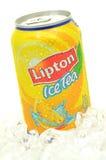 Can of Lipton Ice Tea drink on ice. Lipton Ice Tea is a brand sold by Lipton Royalty Free Stock Photos