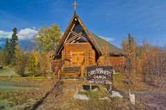 Can 1888-06 Log church, Haines Junction, Yukon, Canada royalty free stock photography