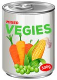 Can of mixed vegies. Illustration Stock Image