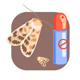 Can of moth insecticide. Colorful cartoon illustration Stock Image