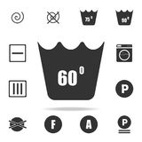 Can not be washed above 60 degrees icon. Detailed set of laundry icons. Premium quality graphic design. One of the collection icon. S for websites, web design Vector Illustration