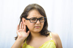 She can not listen Royalty Free Stock Photo