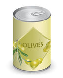 Can with olives. Royalty Free Stock Image