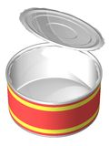 Can open. The three-dimensional, cartoon image of an open can with an empty label. Background white, shadows are absent Royalty Free Illustration