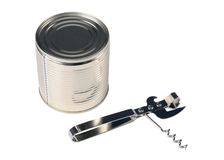 Can opener and can Stock Photos