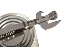 Can opener and can Stock Photo