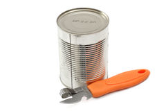 Can opener and canned Royalty Free Stock Photography
