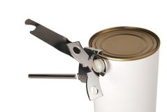 Can opener on tin. Tin can opener opening a can of food - isolated on white Stock Photo