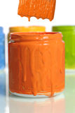 Can of Orange Paint Stock Photo