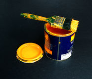 Can of paint. With brush Stock Image