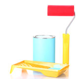 Can of paint with paint roller and tray Royalty Free Stock Photography