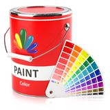 Can with paint and samples palette. On white background Royalty Free Stock Images