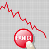 Can we panic?. Abstract vector illustration of a downward graph with a finger on a panic button Royalty Free Stock Image