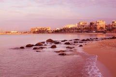 Dawn on Playa de Palma. CAN PASTILLA, MAJORCA, SPAIN - JULY 21, 2015: First sun rays hit the buildings at dawn on July 21, 2015 in Playa de Palma near Can Royalty Free Stock Photo