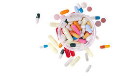 Can of pills from above Stock Images