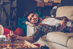 Can pizza help with hangover? Royalty Free Stock Image