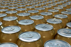 Can Production Line. A collection of tin beer cans at the end of a factory production line Royalty Free Stock Photography