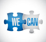 We and can puzzle pieces sign illustration design Stock Photos