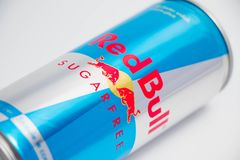 Geneva/switzerland-16.07.18 : Red bull sugar free energy drink. Can of red bull isolated on white close up royalty free stock image