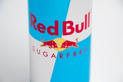 Geneva/switzerland-16.07.18 : Red bull sugar free energy drink. Can of red bull isolated on white close up royalty free stock photography