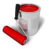 Can with red paint and roller brush. Isolated over white background Royalty Free Stock Photography