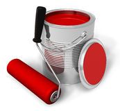 Can with red paint and roller brush. Isolated on white background Royalty Free Stock Photo