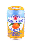 Can of San Pellegrino Sparkling Orange Beverage Stock Image