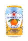 Can of San Pellegrino Sparkling Orange Beverage Stock Photos