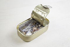 Can of sardines in oil Royalty Free Stock Photos