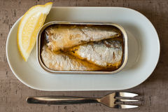 Can of Sardines and Slice of Lemon in Oval Dinner Plate. An opened can of sardines or herring and a slice of lemon served on a plate beside a dinner fork Royalty Free Stock Image