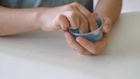 Can of slime. Toy for kids stock photo