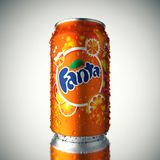A can of soda, Fanta. Can of Fanta cold soda with water drops on the case isolated on neutral background stock illustration