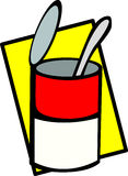 Can of soup with spoon vector illustration Royalty Free Stock Images