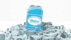 Can of sparkling water in ice cubes Royalty Free Stock Photos