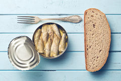 Can of sprats Stock Image