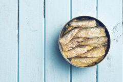 Can of sprats Stock Photography