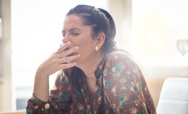 Can`t believe I`m sick again. Woman with virus stock images
