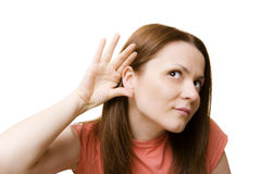 Can't Hear You!. Beautiful girl with hand on ear - what did you say Royalty Free Stock Photos