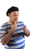 Can't remember. A man with a red bow tied on his finger can't remember what he was suppose to do,over white Stock Photos