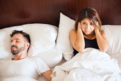 Can't sleep with all the snoring stock photo