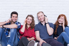 Can't stop calling to friends! Stock Images