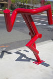 Can't stop statue by artist Bruce Johnson at public art walk in town of Yountville stock photo