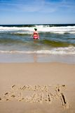 Can't swim drawn on beach Royalty Free Stock Photo