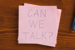 Can we talk written on a note Royalty Free Stock Photos