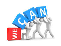 We can!. Teamwork concept. Separated on white Royalty Free Stock Images