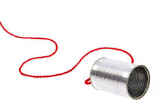 Can telephone. On white with red wire Stock Photos