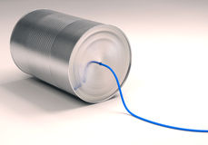 Can Telephone. With blue wire. Clipping path included Stock Photography